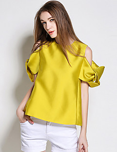 BURDULLY  Women's Going out Simple Summer BlouseSolid Crew Neck Short Sleeve Yellow Polyester Medium