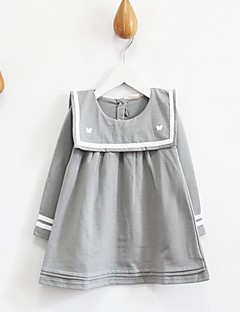 Girl's Casual/Daily Solid Dress / BlouseCotton Spring / Fall Gray