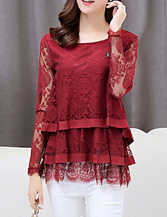 T-shirt Da donna Casual Semplice Autunno,Tinta unita Rotonda Nylon Rosso / Nero Manica lunga Medio spessore