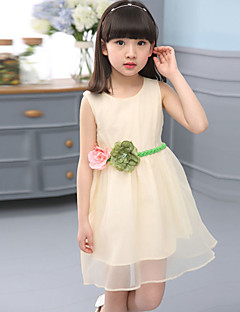 Girl's Casual/Daily Solid DressCotton Fall Pink / Purple / Beige