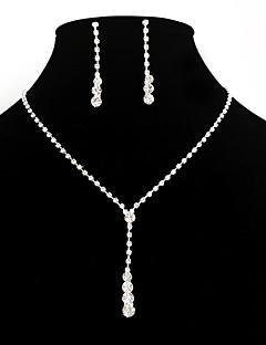 Mulheres Conjunto de Jóias Brincos Compridos Colares com Pendentes Elegant bijuterias Moda Europeu Estilo simples Casamento Strass