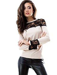 Women's Casual/Daily Sexy Fall T-shirt,Patchwork Round Neck Long Sleeve Blue / Beige Cotton Opaque