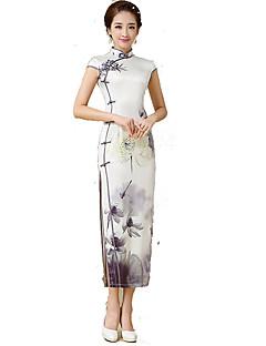클래식 & 전통적 롤리타 나와 짧은 소매 긴 길이 화이트 로리타 드레스 실크