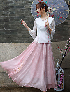 Our Story Women's Embroidered Pink SkirtsChinoiserie Maxi