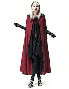Alkalmi / Casual/hétköznapi Vintage Téli-Női Cloak / Capes,Egyszínű Kerek Ujjatlan Piros Gyapjú / Poliészter Közepes vastagságú