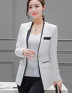 Mulheres Blazer Casual / Trabalho Fofo Primavera / Outono,Color Block Branco Poliéster Decote em V Profundo Manga Longa Média