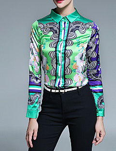 Langærmet Krave Medium Dame Grøn Trykt mønster Alle årstider Vintage Afslappet/Hverdag Skjorte,Polyester