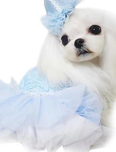 Dog Dress Blue / Pink / Purple Dog Clothes Spring/Fall Floral / Botanical / Hearts Fashion