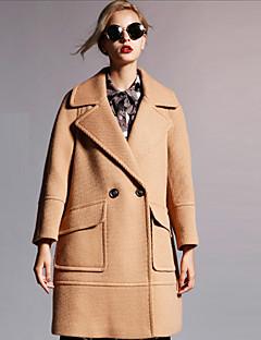 Damen Solide Anspruchsvoll Formal Mantel,Herbst / Winter Steigendes Revers Langarm Rot / Braun Undurchsichtig Wolle / Polyester