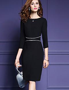 Women's Plus Size / Work Street chic Sheath DressPatchwork Round Neck Knee-length  Sleeve Black  / Winter