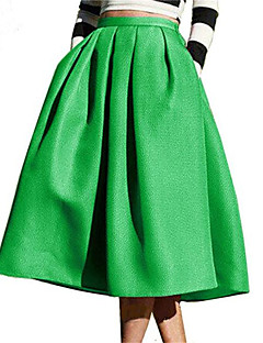 Women's Solid Blue / Black / Green SkirtsCute Midi