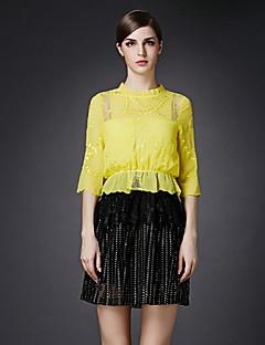 Damen A-Linie Kleid-Lässig/Alltäglich Einfach Patchwork Rundhalsausschnitt Übers Knie ¾-Arm Gelb Polyester Herbst Mittlere Hüfthöhe
