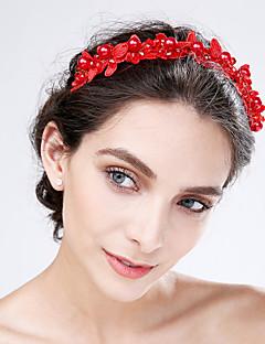 Mujer Encaje / Acrílico Celada-Boda / Ocasión especial Flores 1 Pieza Rojo / Beige