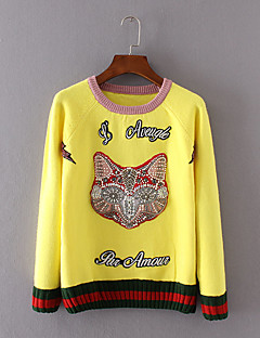 Women's Casual/Daily Simple Short PulloverAnimal Print Yellow Round Neck Long Sleeve Cotton Winter Thin Inelastic