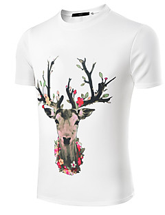 Men's Print / Solid Casual / Work / Formal / Sport / Plus Size T-ShirtCotton / Linen / Polyester /