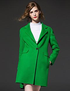 frmz Frauen einfache Revers coatsolid Kerbe lange Hülse Herbst / Winter rot / grün Wolle / Polyester-Medium Ausgehen