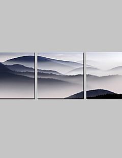 Op gespannen doek kunst Landschap Mountain Set van 3
