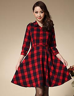 Damen Hülle Kleid-Ausgehen Retro Verziert Hemdkragen Übers Knie ¾-Arm Rot Baumwolle Frühling / Herbst Mittlere Hüfthöhe Mikro-elastisch