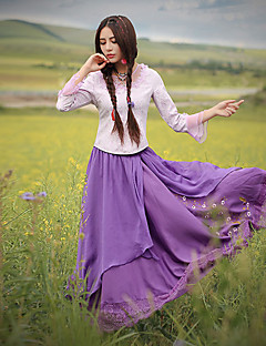 Our Story Women's Embroidered Purple SkirtsVintage Maxi