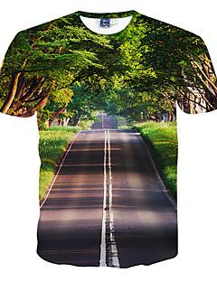 Menn Fritid / Formelt / Sport Trykk T-skjorte,Polyester Kortermet-Grønn