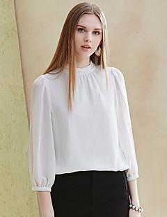 Damen Solide Einfach Arbeit Bluse,Rundhalsausschnitt Frühling / Sommer ¾-Arm Weiß Polyester / Elasthan Undurchsichtig