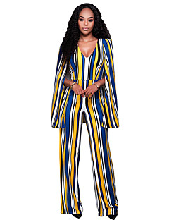 Women's Striped Color Block  Backless Cloak Jumpsuits Sexy / Vintage Deep V Long Sleeve