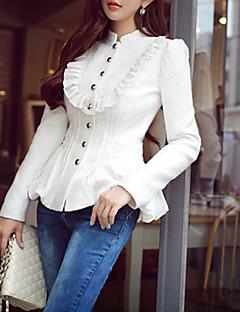 Damen Solide Mantel,Herbst Ständer Langarm Blau / Weiß Mittel Polyester / Elasthan