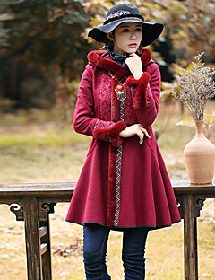 Our Story Women's Going out Boho CoatEmbroidered Hooded Long Sleeve Winter Red Wool / Polyester Thick