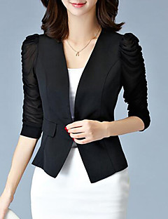 Women's Solid OL Style Simple Ruched Slim Hin Thin Blazer,Plus Size Notch Lapel ¾ Sleeve