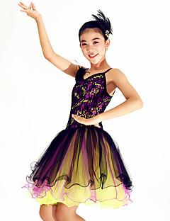 Danse classique Robes Femme Spectacle Elasthanne Polyester Paillété Dentelle Volants Plumes/Fourrure 1 Pièce Sans manche Taille moyenne