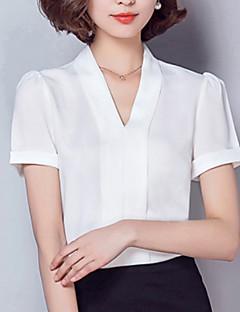 Kortærmet V-hals Tynd Kvinders Hvid Ensfarvet Sommer Simpel / Street Arbejde Skjorte,Rayon / Polyester