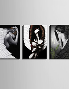 E-HOME® Stretched Canvas Art Angel Decoration Painting  Set of 3