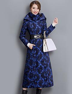 Feminino Casaco Informal / Casual / Tamanhos Grandes Sofisticado Primavera / Inverno,Estampado Azul Algodão Com Capuz-Manga Longa Grossa