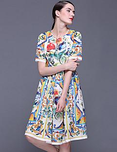 Stephanie vrouwen uitgaan chinoiserie schede dressfloral ronde hals boven de knie met korte mouwen wit