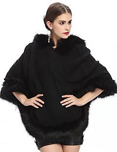 """כיסויי גוף לנשים שכמיות בלי שרוולים סוודר שחור / שקד מסיבה / ערב / קז'ואל V-צוואר 42ס""""מ נוצות / פרווה אפודה"""