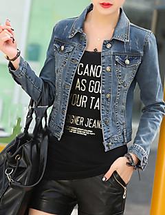 Women's Solid Blue Slim Thin Cotton Short Demin Jacket , Casual / Cute
