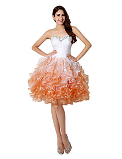 Cocktail Party Dress A-line Sweetheart Short / Mini Organza with Crystal Detailing / Side Draping