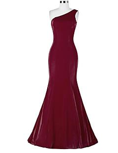 Formal Evening Dress - Elegant Trumpet / Mermaid One Shoulder Sweep / Brush Train Satin with Tassel(s)