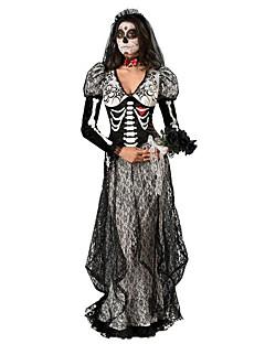 Cosplay Kostuums Feestkostuum Zombie Festival/Feestdagen Halloweenkostuums Zwart Print  Kleding Hoofddeksels Halloween Vrouwelijk Textiel
