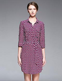 sarah Dekan Frauen gehen die anspruchsvolle Mantel dressgeometric Hemdkragen Länge Hülse fallen aus Mitte steigen unelastisch