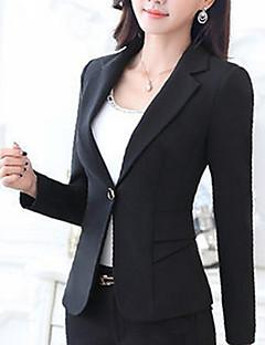 Women's Plus Size Fall Blazer,Solid Notch Lapel Long Sleeve Blue / Red / White / Black Polyester Medium