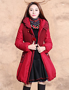 Our Story Women's Long Padded CoatBoho Going out Solid / Embroidered-Cotton / Polyester Cotton Long Sleeve Hooded Red