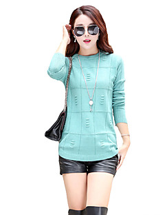 Women's Simple / Street chic Loose All Match Regular PulloverSolid Pink / Beige / Gray / Green Round Neck Long Sleeve