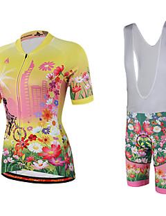 Miloto® Camisa com Bermuda Bretelle Mulheres Manga Curta MotoRespirável / Secagem Rápida / Permeável á Humidade / Fecho YKK / Redutor de