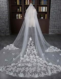 Véus de Noiva Duas Camadas Véu Catedral Corte da borda Tule / Renda Marfim