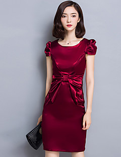 Women's Casual/Daily Sophisticated Sheath DressSolid Round Neck Above Knee  Red / Purple Polyester Summer Mid Rise
