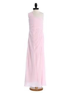 2017 lanting bride® vloer-length chiffon junior bruidsmeisje jurk a-lijn een schouder met kralen / side draperen