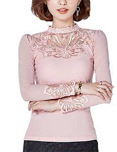 Mulheres Blusa Happy-Hour / Casual / Tamanhos Grandes Simples / Moda de Rua Primavera / Outono,Sólido Rosa / Vermelho / Preto Poliéster