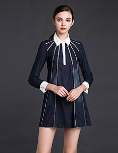 JOJO HANS  Women's Going out Sheath DressSolid Shirt Collar Above Knee Long Sleeve Blue Cotton