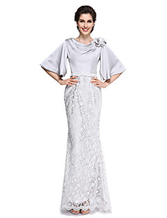 Mermaid / Trumpet Cowl Neck Ankle Length Lace Satin Chiffon Mother of the Bride Dress with Flower(s) Lace by LAN TING BRIDE®